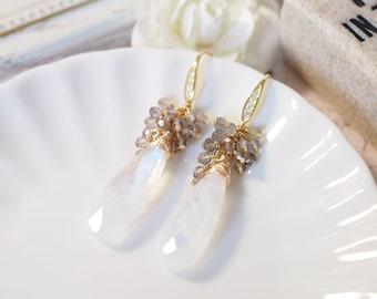 Rainbow Moonstone Earrings // Statement Earrings // Gems Cluster // Labradorite x Tea Quartz // Understated & Elegant