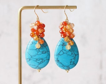Turquoise Earrings // Gems Cluster //Statement Earrings // Agate Cluster // 14K Gold-filled // Refreshing & Chic
