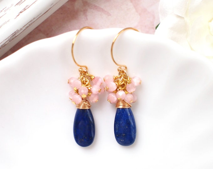 Lapis Lazuli x Pink Cat Eye Stones Earrings // Gem Cluster // 14K Gold-filled // Wire-wrapped // Cherry Blossom