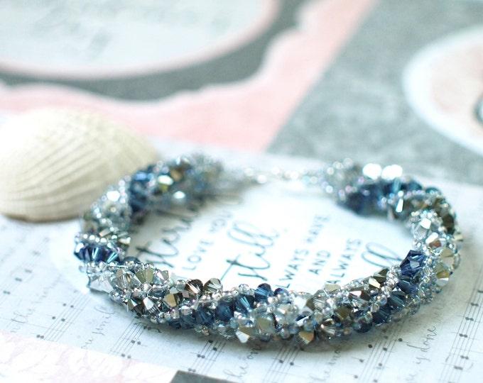 Swarovski Elements Spiral Bracelet // Bicone Crystals // Sparkly // Stackable