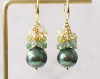 Tahitian Pearl Earrings // Natural Peacock Green // Strawberry Quartz x Peridot x Citrine Quartz // 14K Gold-filled // Refreshing & Sweet