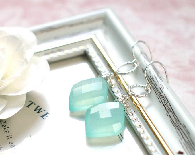Aqua Chalcedony Earrings // Diamond Shape // 925 Sterling Silver // Elegant & Stylish