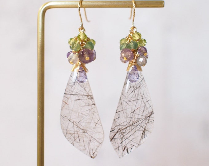 Rutilated Quartz Earrings // Statement Earrings // Gems Cluster // Topaz x Amethyst x Apatite x Peridot // 14K Gold-filled
