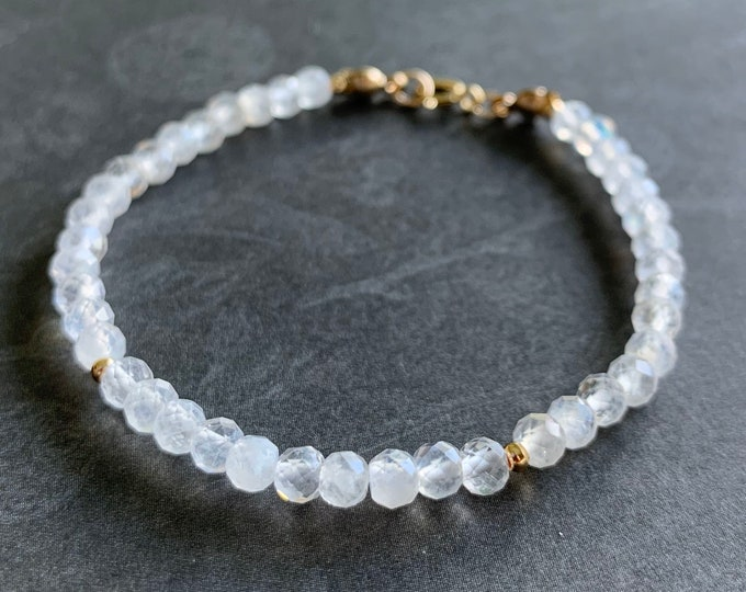 Blue Moonstones Bracelet // Rainbow Moonstones // Sparkly & Elegant // 14K Gold-filled // Stackable