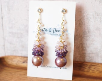 Purple Edison Pearl Statement Earrings  // Gems Cluster // 14K Gold-filled // Dangling Style // Gorgeous & Romantic