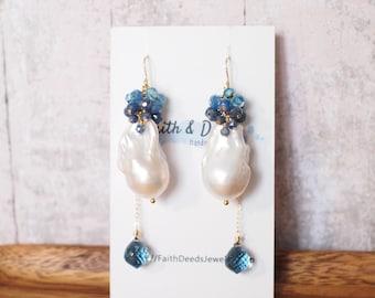 Baroque Pearl Earrings // Statement Earrings // Gems Cluster // Sapphire x Kyanite x Topaz // 14K Gold-filled