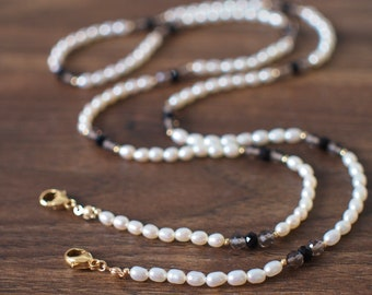 Mask Chain // White Fresh Water Pearls // Smokey Quartz x Black Spinel // Understated and Sexy // 14K Gold-filled //