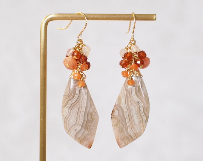 Crazy Lace Agate Earrings // Statement Earrings // Gems Cluster // 14K Gold-filled // One of a kind