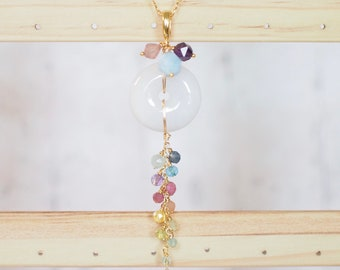 Type A Burmese Jade x Rainbow Gems Pendant // Long Necklace // One of a Kind // Wire-wrapped // 14K Gold-filled