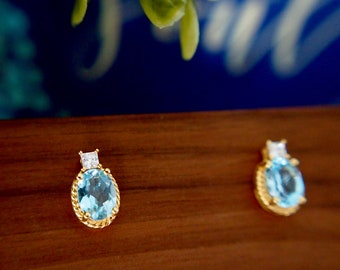 Blue Topaz Earrings // Cubic Zirconia // 18K Yellow Gold Plated Over Silver