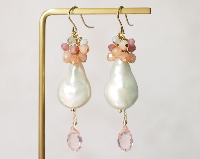 Baroque Pearl x Pink Quartz Earrings // Statement Earrings // Gems Cluster // Sunstones x Pink Tourmaline x Aquamarine // 14K Gold-filled
