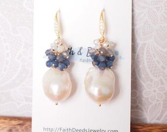Baroque Pearl Earrings // Flameball Pearls// Blue Gems Cluster // Blue Sapphire x Aquamarine // 14K Gold-filled // Elegant & Graceful