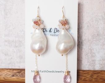 Baroque Pearl Earrings // Statement Earrings // Gems Cluster // Rose Quartz x Strawberry Quartz x Aquamarine // 14K Gold-filled