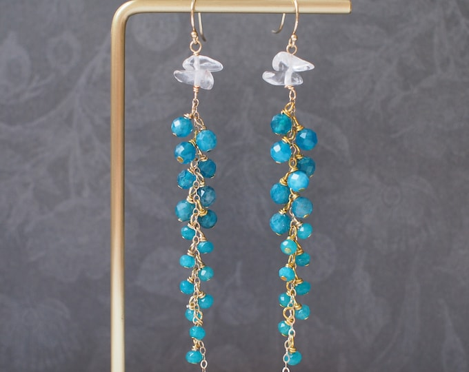 Apatite x Chalcedony x Quartz Dangling Earrings // Sparkly & Precious // 14K Gold-filled // One of a Kind