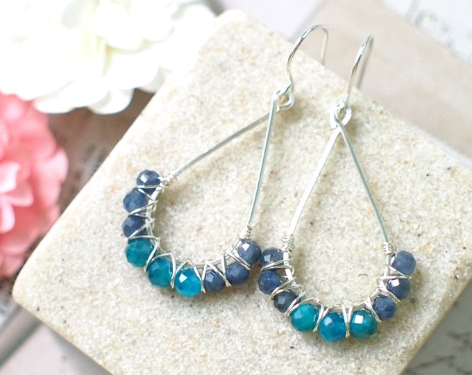 Blue Sapphire x Apatite Earrings // Elegant & Chic // 925 Sterling Silver // Wirewrapped