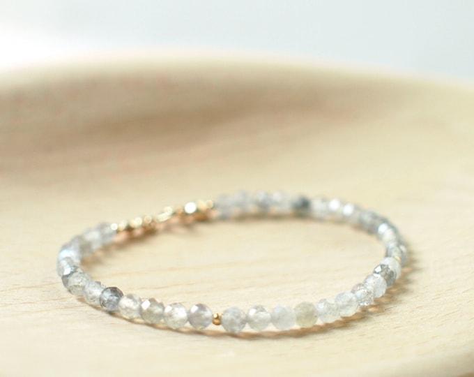 Labradorite Bracelet // Dainty & Sparkly // Stackable // 14K Gold-filled