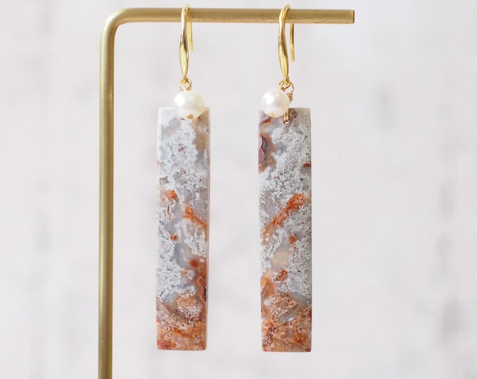 Crazy Lace Agate Earrings // Statement Earrings // Pearl Dangle // 14K Gold-filled // Stylish & Bold
