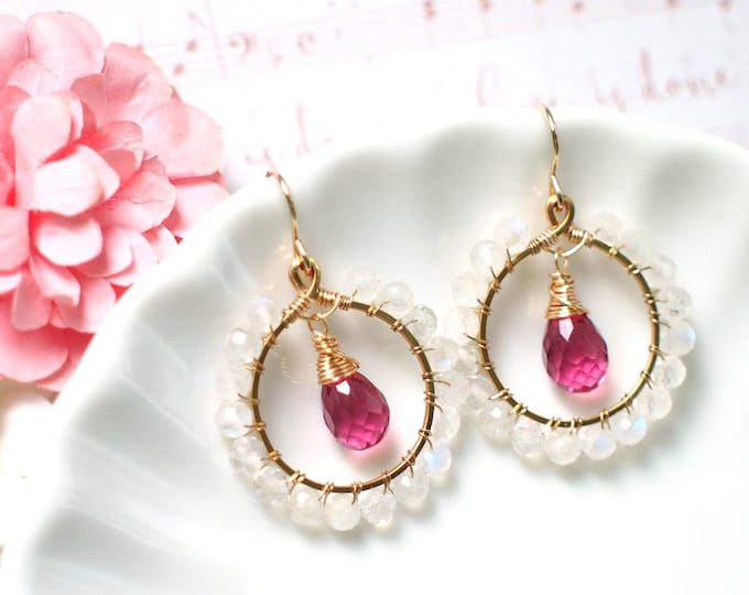 Hot Pink Quartz x Blue Moonstone Earrings // Sparkly & Precious // 14K Gold-filled // Sweetness Overflow