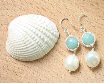 Amazonite x Baroque Pearls Earrings // Vintage Inspired // Sweet & Refreshing // 925 Sterling Silver