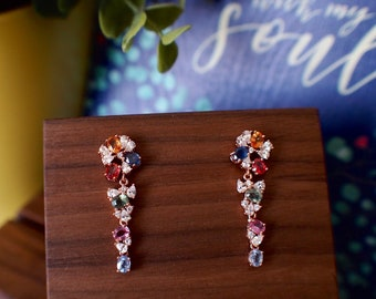 Multi-Colour Sapphire Earrings // Cluster Setting // Cubic Zirconia // 18K White Gold Plated Over Silver