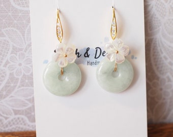 Type A Burmese Jade Donut Earrings // Fresh Water Pearls // White Flower // 14K Gold-filled // Graceful and Gorgeous