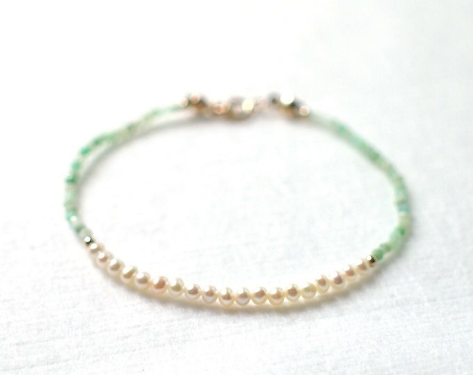 Pearl x Amazonite Bracelet // Skinny and Delicate // Stackable// 14K Gold-filled