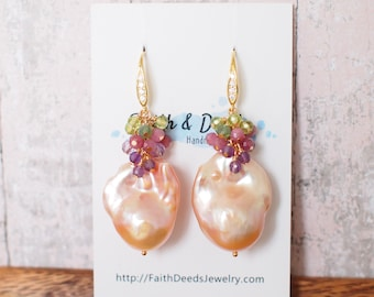 Rainbow Baroque Pearl Earrings // Gems Cluster // Flameball Pearls // Floral Theme // 14K Gold-filled