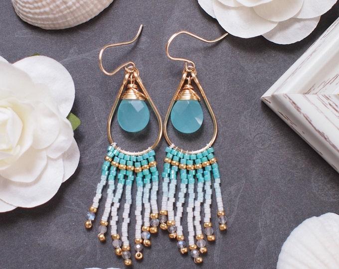 Aqua Chalcedony Fringe Earrings // Ombré Style // Dangling Earrings // 14K Gold-filled // One of a kind
