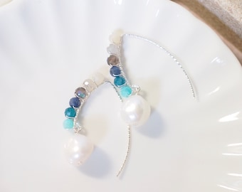 Baroque Pearls x Natural Gems Earrings // Chic & Sweet // 925 Sterling Silver // Wirewrapped
