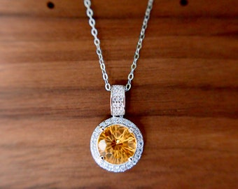 Citrine Quartz Pendant // Halo Setting // Cubic Zirconia // 18K White Gold Plated Over Silver // With Chain