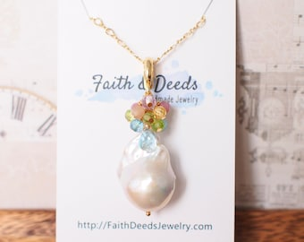 Baroque Pearl x Gem Cluster Pendant // Flameball Pearl // Long Statement Necklace // Rainbow Gems // 14K Gold-filled