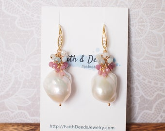 Baroque Pearl Earrings // Statement Earrings // Gems Cluster // Pink Tourmaline x Aquamarine // 14K Gold-filled