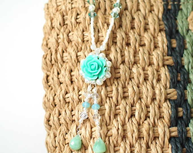 Gems x Pearls x Swarovski Crystals Necklace // Long Necklace // Beaded Necklace // Elegant & Sweet