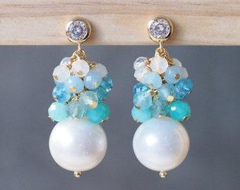 Fresh Water Pearl Earrings // Blue Gem Cluster // Ocean Theme // 14K Gold-filled // Sparkly & Stunning