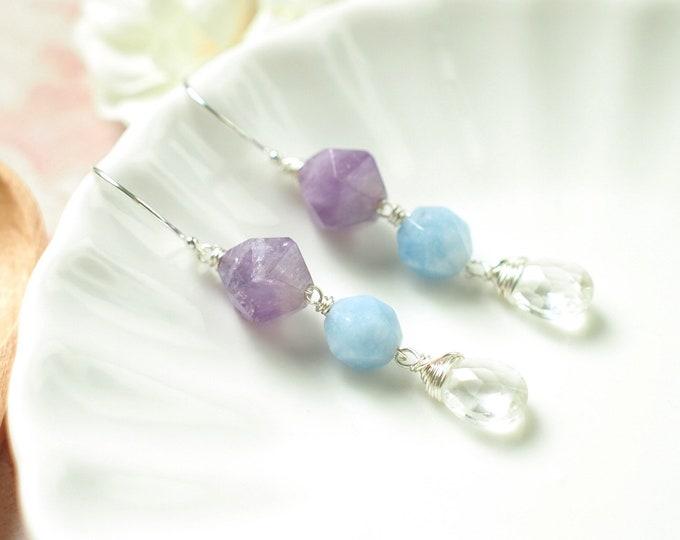 Lavender Amethyst x Aquamarine x Clear Quartz Earrings // Elegant & Chic // 925 Sterling Silver // Everyday Style