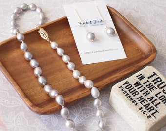Silverish Gray Baroque Pearls Necklace + Earrings Set // 14K Gold-filled // Stunning & Rare