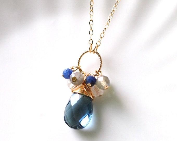 London Blue Quartz Necklace // Gem Pendant // Gem Cluster // 14K Gold-filled // Wire-wrapped // Elegant & Classy