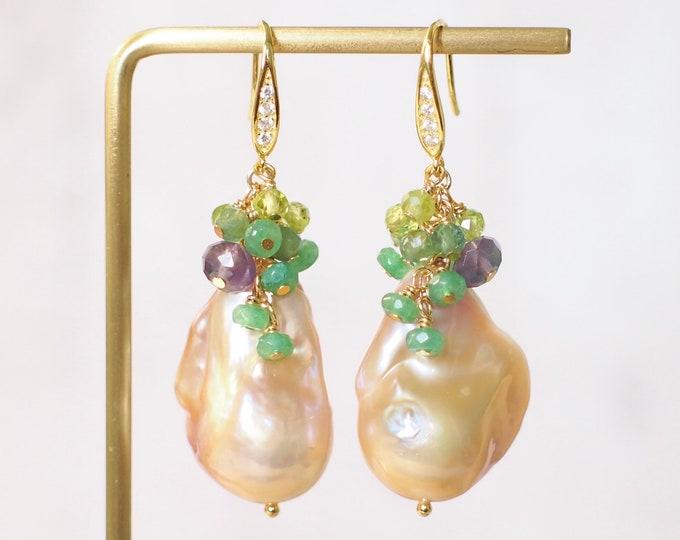 Rainbow Baroque Pearl Earrings // Gems Cluster // Flameball Pearls // Green Gem Cluster // 14K Gold-filled // Oriental Theme