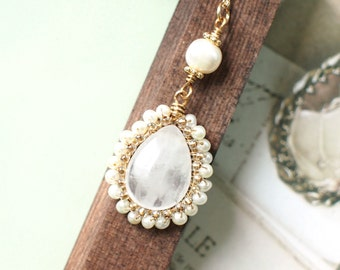White Quartz x Pearls Pendant // Long Necklace // Vintage Inspired // Wire-wrapped // 14K Gold-filled