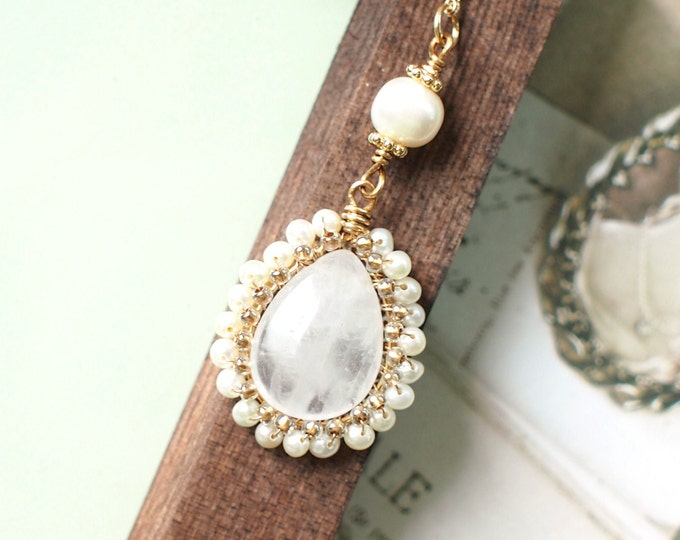 Clear White Quartz x Pearls Pendant // Long Necklace // Vintage Inspired // Wire-wrapped // 14K Gold-filled
