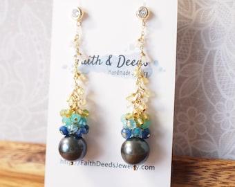 Tahitian Pearl Statement Earrings // Natural Peacock Green // Gems Cluster // 14K Gold-filled // Dangling Style // Elegant & Sweet