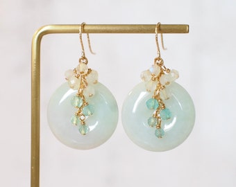 Type A Burmese Jade Donut Earrings // Gem Cluster // Apatite x Moonstones // 14K Gold-filled // Elegant & Graceful