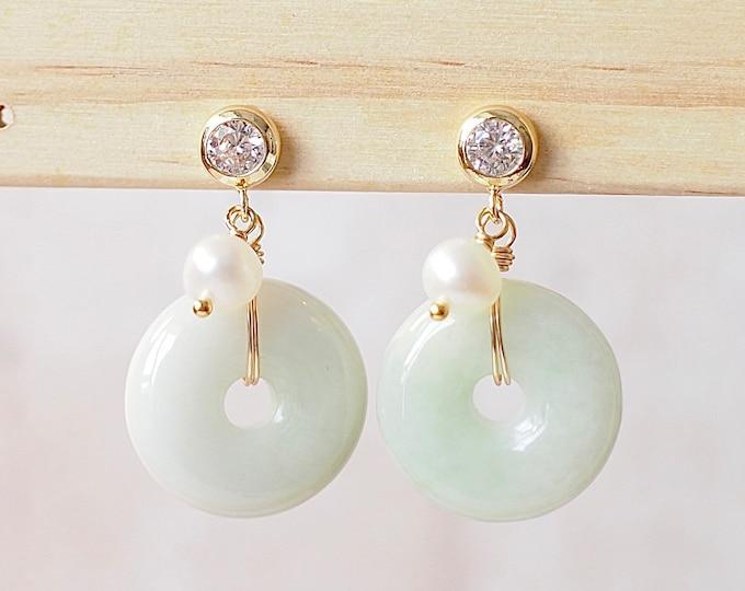Burmese Jade Buckle Earrings // Fresh Water Pearls // 14K Gold-filled // Simple & Elegant