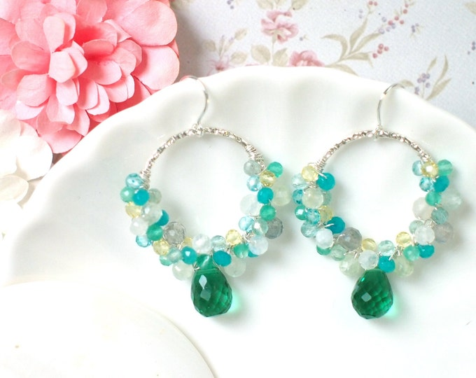 Emerald Green Quartz x Assorted Gems // Striking & Sweet // 925 Sterling Silver // One of a Kind // Blue x Green