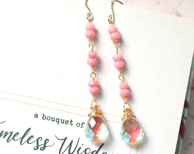 Rainbow Quartz x Pink Opal Earrings // Sparkly & Sweet // 14K Gold-filled // Dangling Style