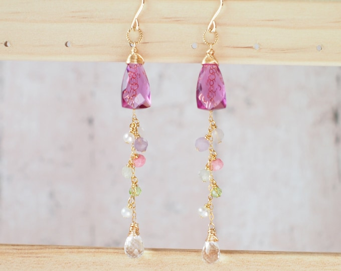 Rhodolite Pink Quartz Earrings // Dangling Style // 14K Gold-filled // Wire-wrapped // Assorted Gems // Sweet & Sassy