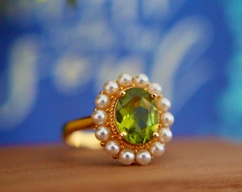 Peridot Ring // Pearl Halo Setting // Cocktail Ring // 18K Yellow Gold Plated Over Silver