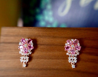 Pink Sapphire Earrings // Flower Setting // Cubic Zirconia // 18K Rose Gold Plated Over Silver