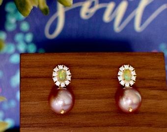 Australian Opal Earrings // Halo Setting // Edison Pearl Dangles // Cubic Zirconia // 14K Yellow Gold Plated Over Silver