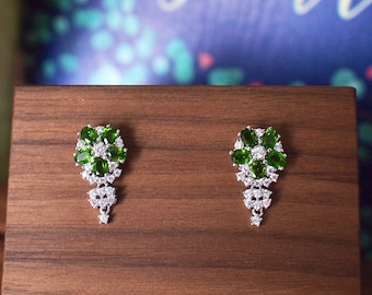 Diopside Earrings // Flower Setting // Cubic Zirconia // 18K White Gold Plated Over Silver